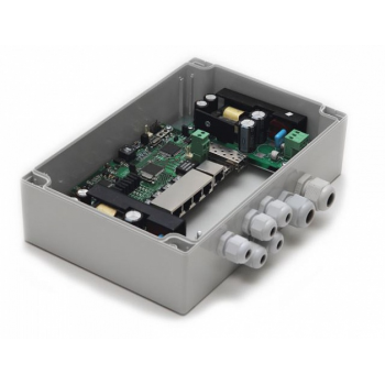 Уличный 6-портовый управляемый коммутатор TFortis PSW-1G4F для подключения 4 камер