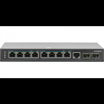 PoE коммутатор неуправляемый PUS-154-8-2  8 10/100BASE-TX 802.3af&at+ 1GB комбо+ 1 1000BASE-X, внешний БП