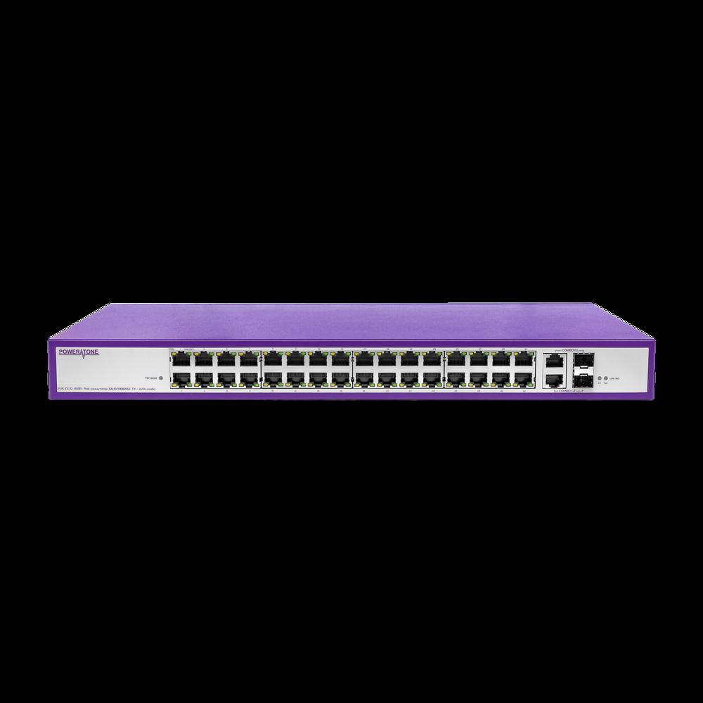 PoE коммутатор стоечный неуправляемый  PUS-CC32-450R, 32x10/100BASE-TX 802.3af&at + 2xGb Combo (SFP порт только 1000BASE-X), PoE бюджет 450Вт