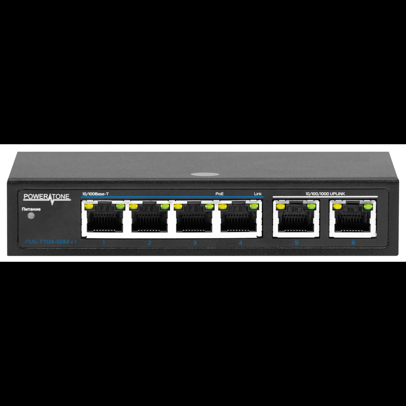 PoE коммутатор неуправляемый PUS-TT04-60M v1, 4x10/100BASE-TX 802.3af&at + 2x10/100/1000BASE-TX, PoE бюджет 60Вт, до 30Вт на порт