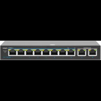 PoE коммутатор неуправляемый  PUS-TT08L-115M, 8x10/100BASE-TX 802.3af&at + 2х10/100/1000BASE-TX, c изол. портов, PoE бюджет 115Вт, до 30Вт на порт
