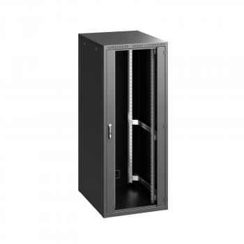 """19"""" RI7 напольный шкаф, высота 42U, ширина 800, глубина 800, спереди стеклянная дверь, сзади металлическая стенка, цвет черный (RAL 9005)"""