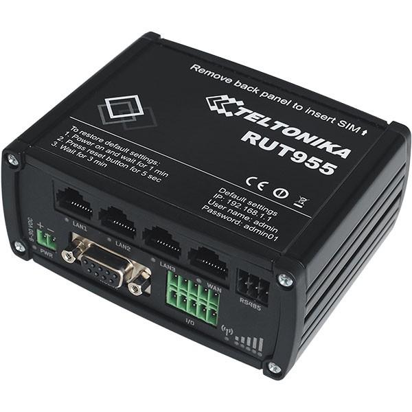 Промышленный Wi-Fi/4G маршрутизатор Teltonika RUT955 (в комплекте DIN rail + GNSS-антенна)