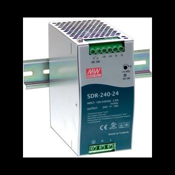 SDR-240-24 Мощный блок питания на DIN-рейку, 24В, 10А, 240Вт Mean Well