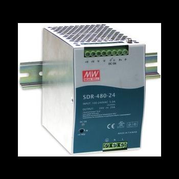 SDR-480-24 Мощный блок питания на DIN-рейку, 24В, 20А, 480Вт Mean Well