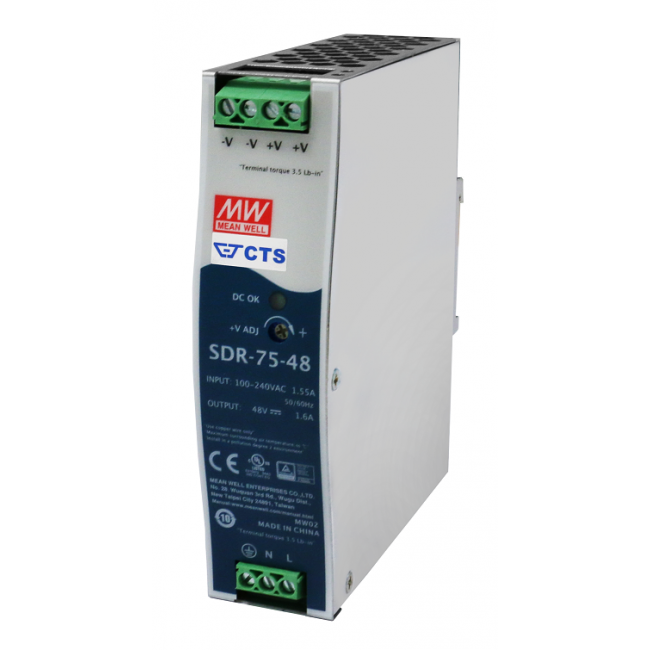 SDR-75-48 Блок питания на DIN-рейку, 48В, 1,6А, 76Вт Mean Well