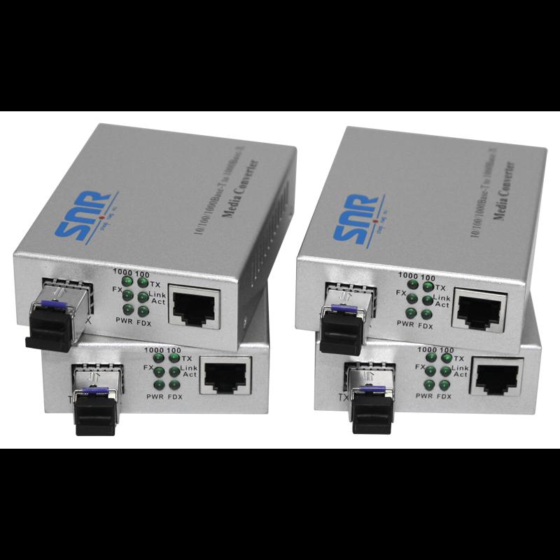 Медиаконвертер SNR-1000A-WDM-03(4) 10/100/1000-Base-T / 1000Base-FX, WDM, 1310nm , до 3км. 4шт. в упаковке
