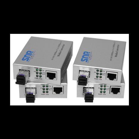 Медиаконвертер SNR-1000B-WDM-03(4) 10/100/1000-Base-T / 1000Base-FX, WDM, 1550nm , до 3км. 4шт. в упаковке