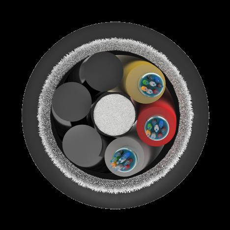 Кабель оптический самонесущий диэлектрический, 12 волокон, 6.0кН, 11.0мм, катушка 1км.
