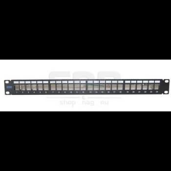 """Патч-панель экранированная SNR, 24 порта, 19"""", 1U, для модулей KeyStone, незагруженная"""