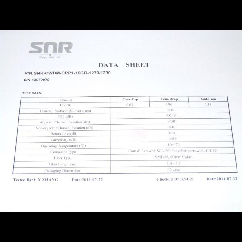 Модуль Add/Drop SNR-CWDM-10GR-OADM1-1270/1290