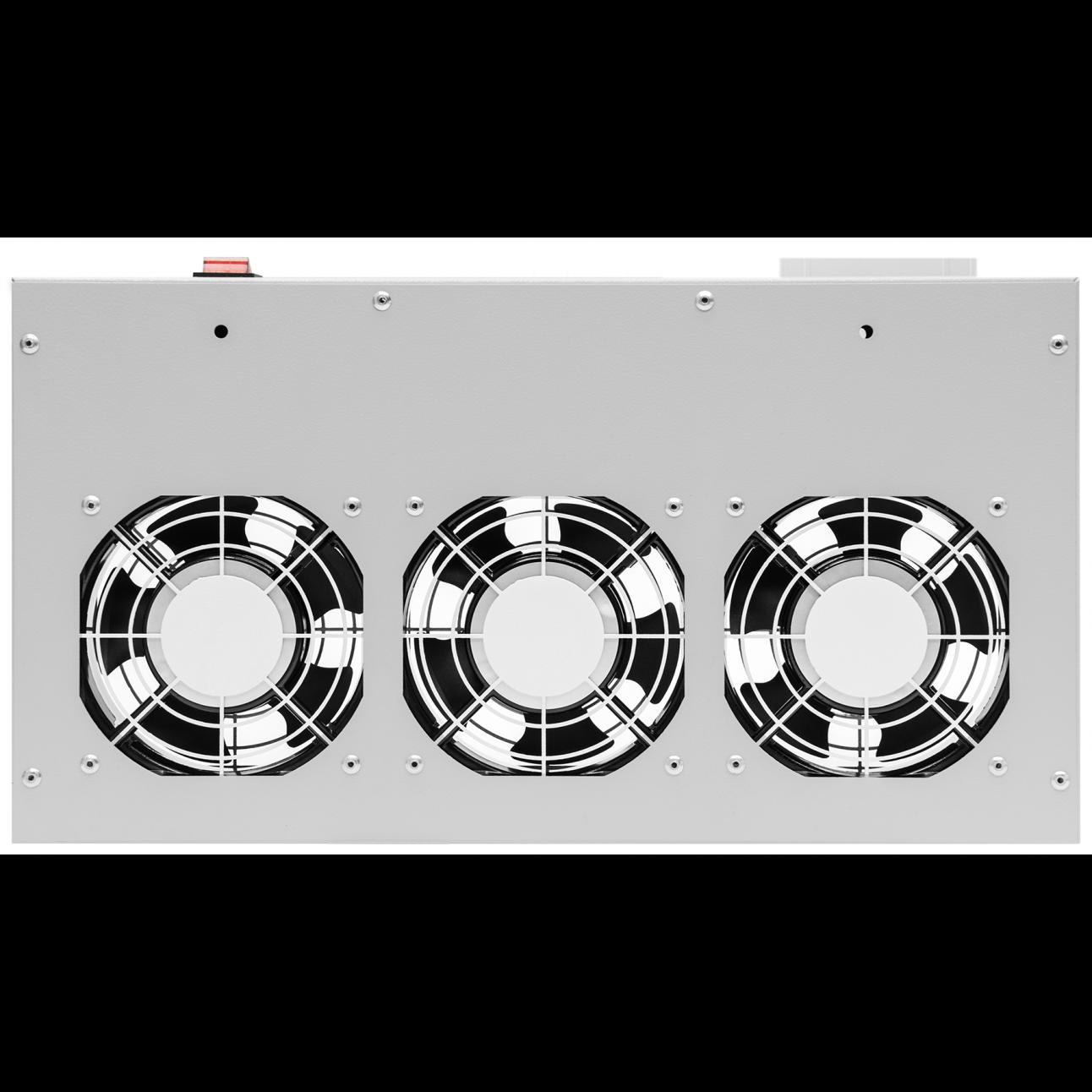 """Модуль вентиляторный 19"""", 3 вентилятора, регулируемая глубина 230-415мм, с термостатом"""