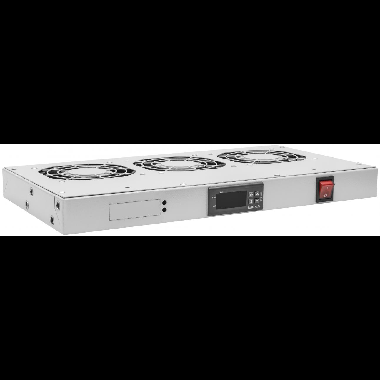"Модуль вентиляторный 19"", 3 вентилятора, регулируемая глубина 230-415мм, с цифровым терморегулятором"