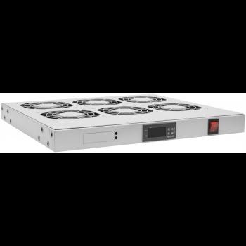 """Модуль вентиляторный 19"""", 6 вентиляторов, регулируемая глубина 460-830мм, с цифровым терморегулятором"""