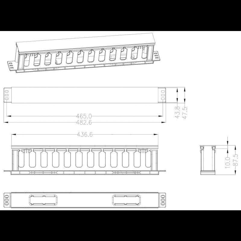 Кабельный органайзер пластиковый, 1U