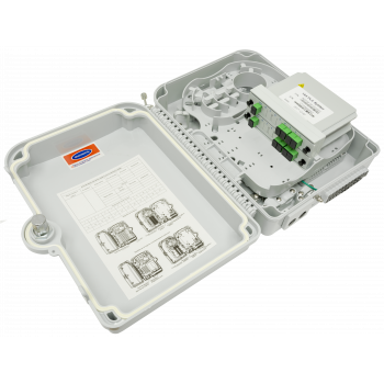 Коробка распределительная оптическая SNR-FTTH-FDB-24X (укомплектованная 2 делителями 1х4)