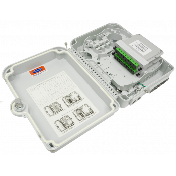 Коробка распределительная оптическая SNR-FTTH-FDB-24X (укомплектованная 2 делителями 1х8)