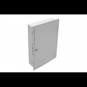 Универсальный настенный шкаф, встраиваемый, 19'' крепление 2U, монтажная площадка, 4 рейки DIN 35 (54 места)