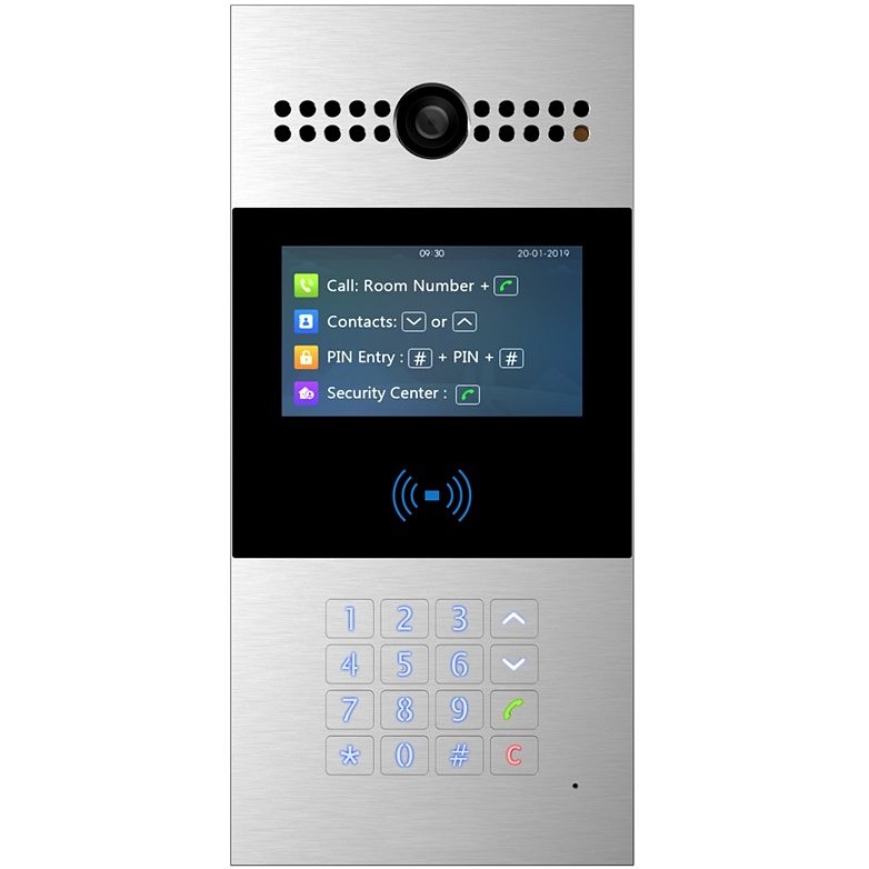 SIP видеодомофон SNR-MVDP2 с клавиатурой, считывателем карт, камерой, PoE 802.3af, 12V DC, цветной дисплей