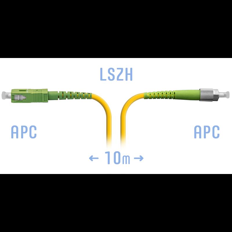 Патчкорд оптический FC/APC-SC/APC SM 10 метров