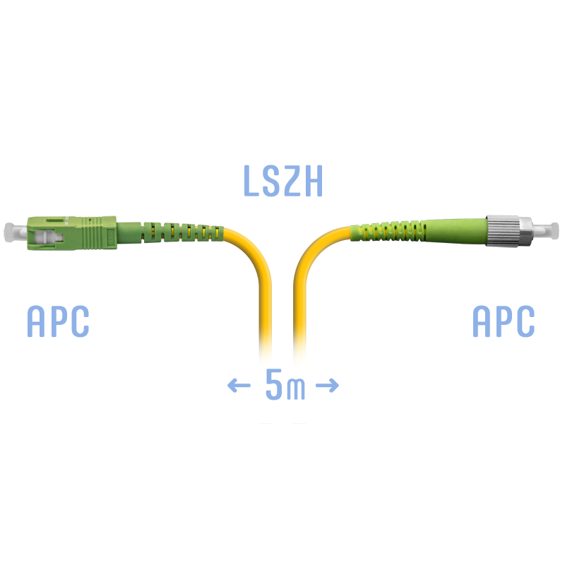 Патчкорд оптический FC/APC-SC/APC SM 5 метров