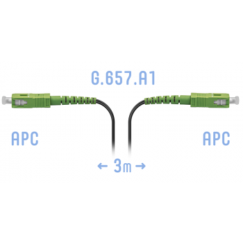 Патчкорд оптический FTTH SC/APC, кабель 604-02-01, 3 метра