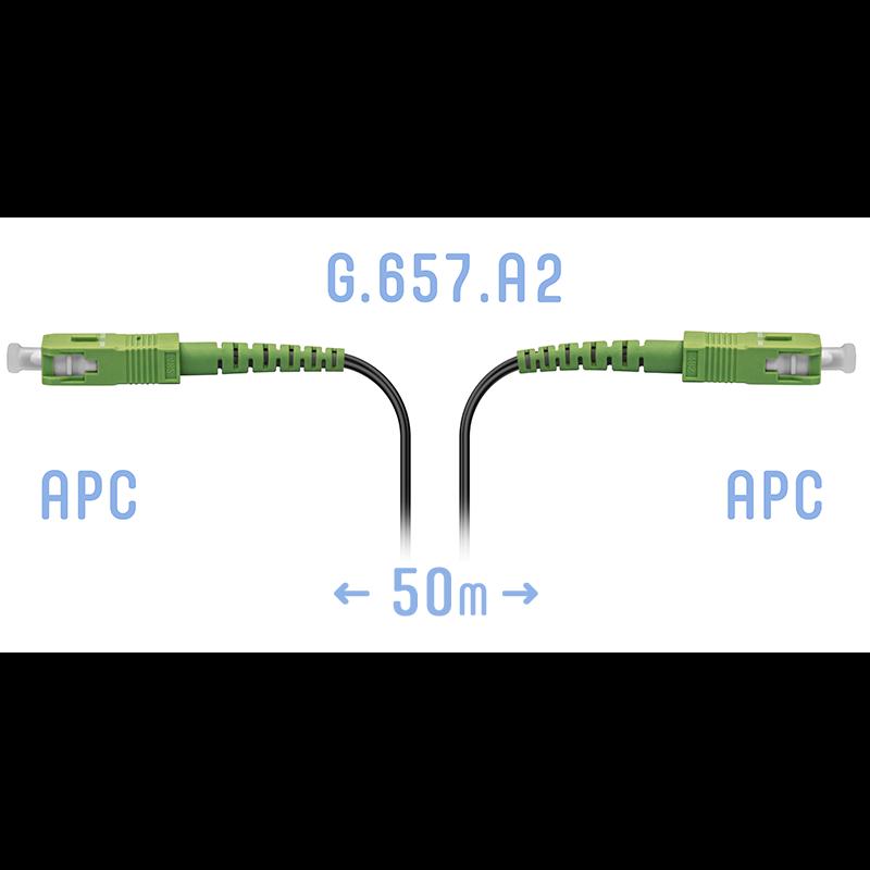 Патчкорд оптический FTTH SC/APC, кабель 604-06-01, 50 метров
