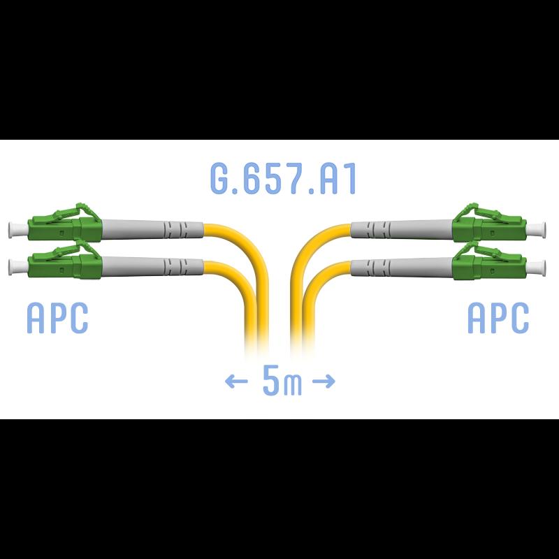 Патчкорд оптический LC/APC SM G.657.A1 Duplex 5 метров