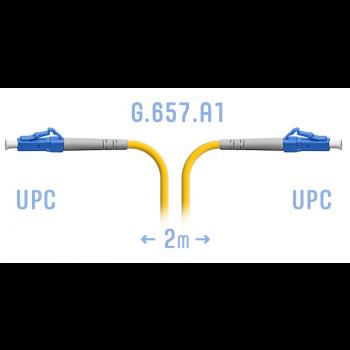 Патчкорд оптический прямой LC/UPC - LC/UPC, SM, Simplex, 2 метра (волокно G.657.A1)