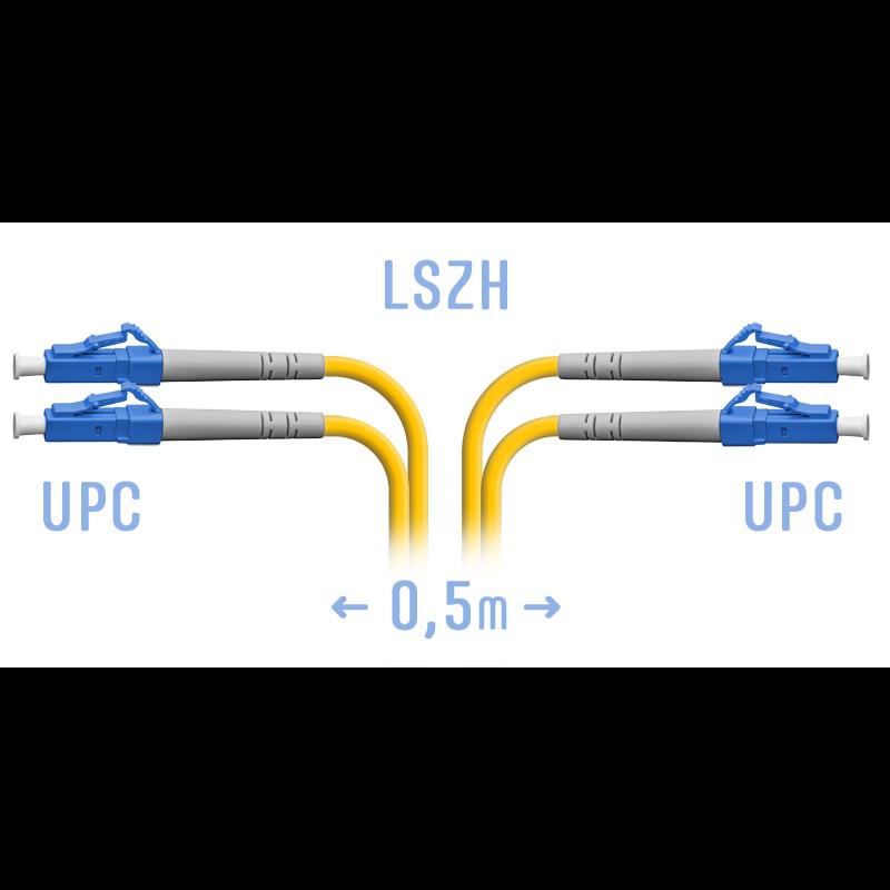 Патчкорд оптический LC/UPC SM Duplex  0.5 метр
