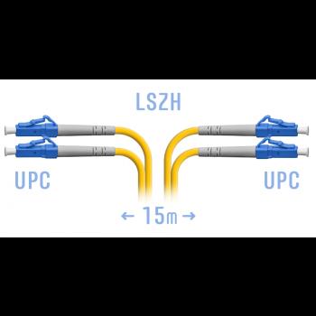 Патчкорд оптический LC/UPC SM Duplex  15 метров