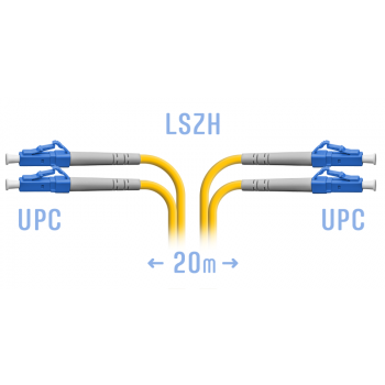 Патчкорд оптический LC/UPC SM Duplex 20 метров