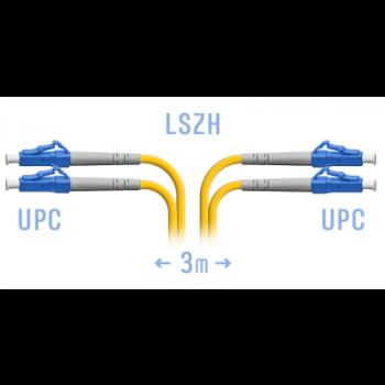 Патчкорд оптический LC/UPC SM Duplex  3 метра
