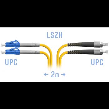 Патчкорд оптический LC-FC/UPC SM Duplex 2метра