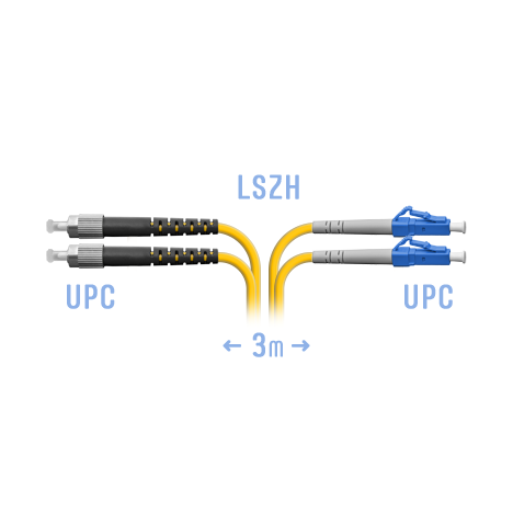 Патчкорд оптический LC-FC/UPC SM Duplex 3метра