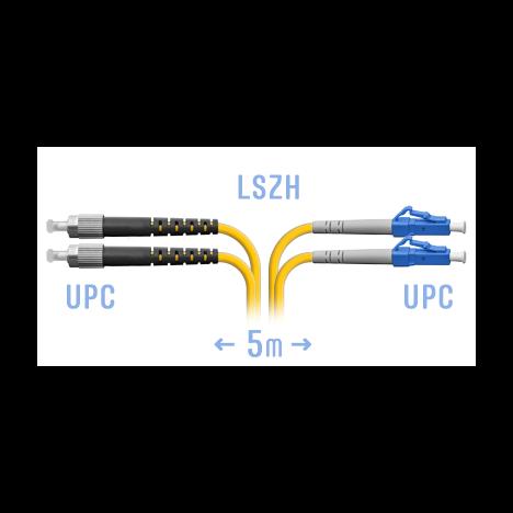 Патчкорд оптический LC/UPC-FC/UPC SM Duplex 5 метров