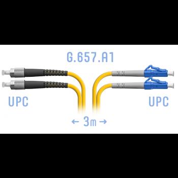 Патчкорд оптический LC/UPC-FC/UPC SM G.657.A1 Duplex 3 метра
