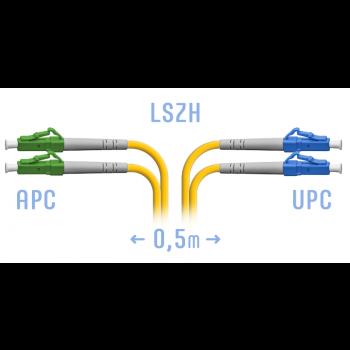 Патчкорд оптический LC/UPC-LC/APC SM Duplex 0,5 метра