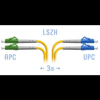 Патчкорд оптический LC/UPC-LC/APC SM Duplex 3метра