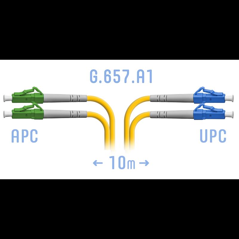 Патчкорд оптический LC/UPC-LC/APC SM G.657.A1 Duplex 10 метров
