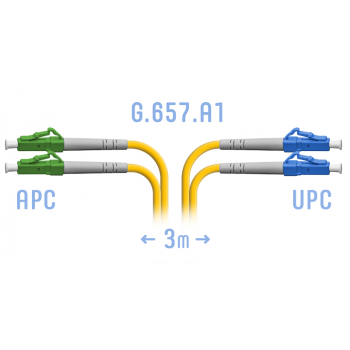 Патчкорд оптический LC/UPC-LC/APC SM G.657.A1 Duplex 3 метра