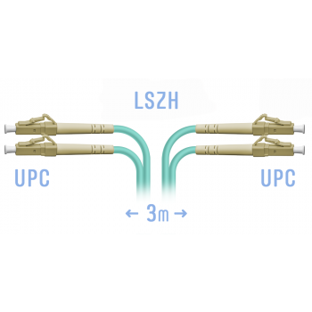 Патчкорд оптический LC/UPC MM Duplex 3 метра, 2 мм
