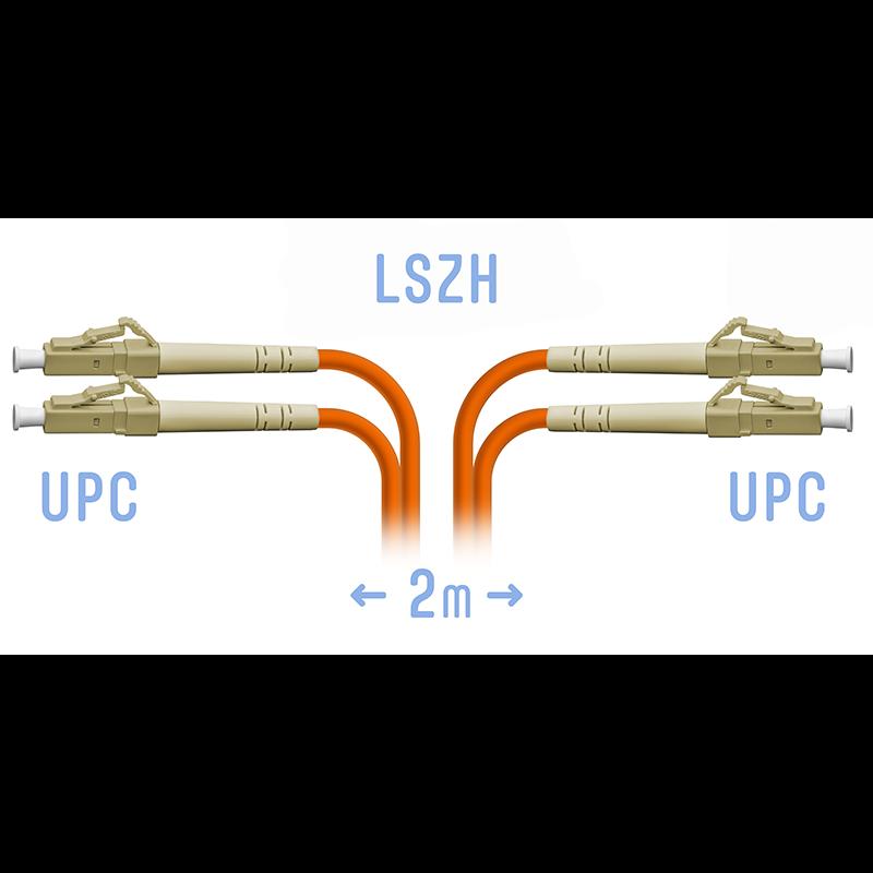 Патчкорд оптический LC/UPC MM (OM2) Duplex 2 метра