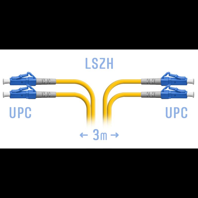 Патчкорд оптический LC/UPC SM Duplex  3 метра (короткий хвостовик)