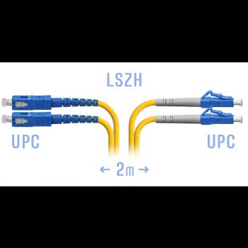 Патчкорд оптический LC/UPC-SC/UPC SM Duplex 2метра
