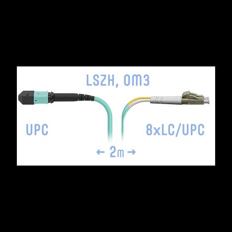 Патчкорд оптический MPO-8LC, DPX,  MM 2 метра