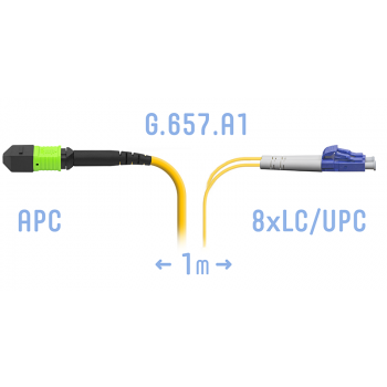 Патчкорд оптический MPO/APC-8LC/UPC SM G.657.A1 1 метр