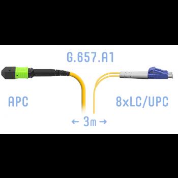 Патчкорд оптический MPO/APC-8LC/UPC SM G.657.A1 3 метра