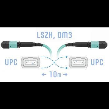 Патчкорд оптический MPO/UPC FF MM, 12 волокон, 10 метров (Cross)