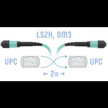 Патчкорд оптический MPO/UPC FF MM, 12 волокон, 2 метра (Cross)